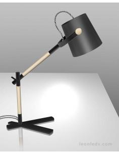 Lámpara de Sobremesa serie Nordica de color Negro 4923 con pantalla textíl de diseño nordico Flexo | LeonLeds.com