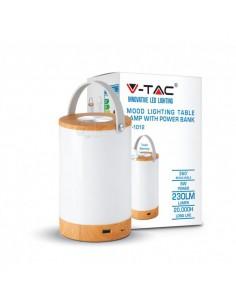 Lámpara Mesa Sobremesa Portatil Recargable LED Madera y Blanca Power Bank USB Dimmable intensidad regulable   LeonLeds