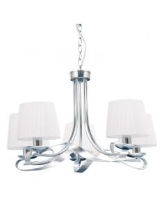 Lámpara de Techo Blanco/Cromo 5 Tulipas Serie Cleveland 067555020   LeonLeds