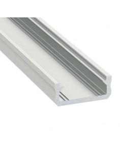 Perfil modelo D de superficie color aluminio y difusor mate escaleras paredes   LeonLeds