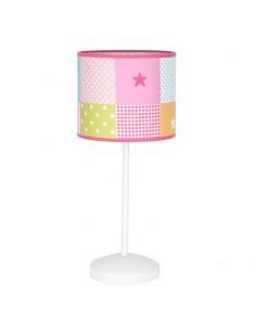 Lámpara de Sobremesa Infantil serie Plus cuadrados de colores Fabrilamp 077471037 Rosa 1XE14 Rosa Redonda Estrellas | LeonLeds