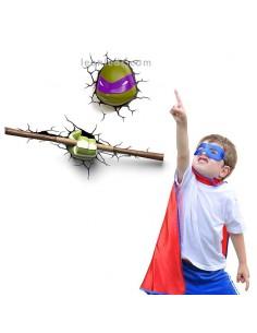 Aplique 3D led Infantil de Pared Donatello Tortuga Ninja para el dormitorio de los más pequeños | LeonLeds