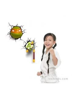Aplique 3D led Infantil de Pared Michelangelo la Tortuga Ninja favorita de tus hijos | LeonLeds