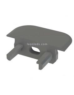 Tapa Final con Agujero para Perfil empotrable de aluminio Tipo Z Gris  LeonLeds