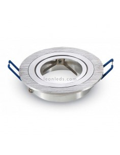Aro Empotrable Basculante MR16/GU10 -Redondo Plano- de Acero Pulido Vtac | Leonleds