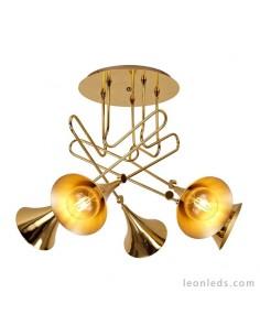 Semi Plafón de techo colgante Jazz 6L Oro estilo Vintage e industrial | LeonLeds