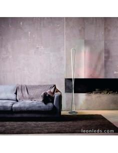 Lámpara de Pie de Salón LED Bucle Dimmable 50W 3000K 5987 de color Plata y Cromo cable transparente Dimmable   LeonLeds