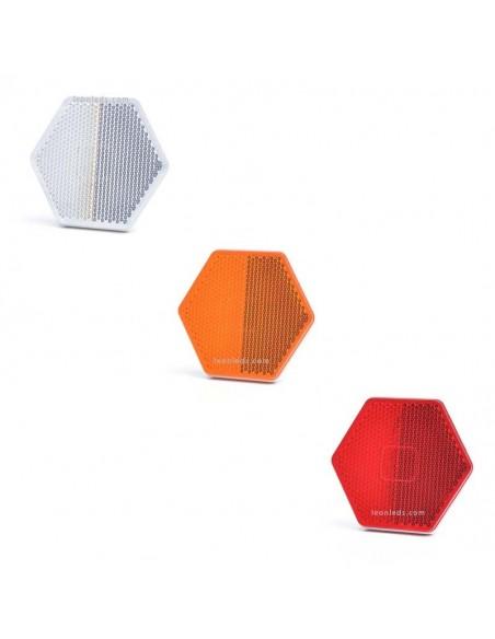 Catadióptrico Hexagonal Adhesivo 3 Colores Blanco Naranja y Rojo de Was | LeonLeds