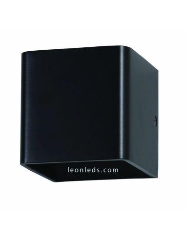 Aplique LED de interior para la pared de vtac 7084 de color negro cuadrado de diseño moderno 5W de potencia luz cálida | LeonLed