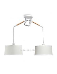 Lámpara de Techo de estilo nordico serie nordica 4930 de dos pantallas redondas de color blanco | LeonLeds Iluminación