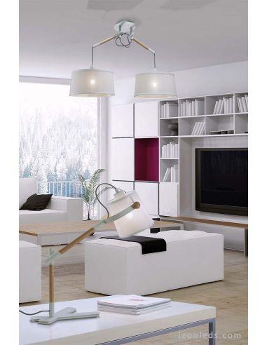 Techo de Pantalla de Lámpara doble Nordica Blanca serie Mantra kuZiTOPX