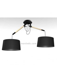 Lámpara de Techo de estilo nordico serie nordica 4931 de dos pantallas redondas de color negro | LeonLeds Iluminación