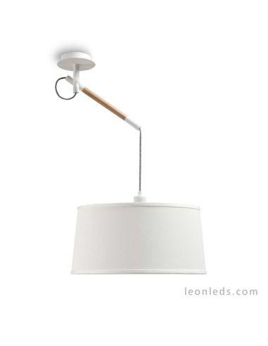 Lámpara de Techo serie Nordica de diseño nordico de color blanca 4928 de mantra blanco roto pantalla redonda   LeonLeds Iluminac