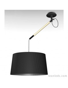 Lámpara de Techo de estilo nordico serie nordica 4929 con brazo giratorio redonda de color negro | LeonLeds Iluminación