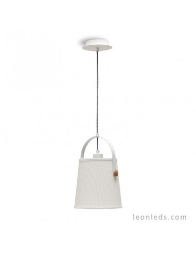 Lámpara de techo colgante reglable en altura de la serie nordica 4926 redonda blanco roto de diseño nordico   LeonLeds Iluminaci