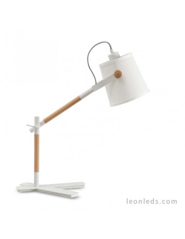 Lámpara de Sobremesa serie Nordica de color Blanco 4922 con pantalla textíl de diseño nordico Flexo | LeonLeds.com