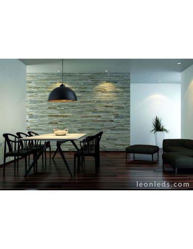 Lámpara de Techo colgante regulable en altura de color negra y dorada Tanna E27 moderna de estilo rustico | LeonLeds Iluminación
