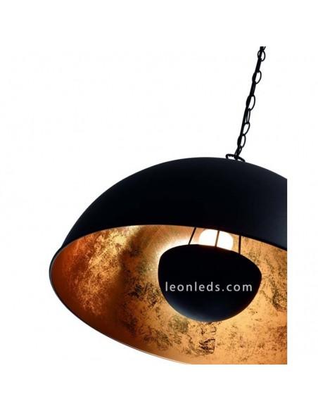 Lámpara de Techo colgante regulable en altura de color negra y dorada Tanna E27 moderna de estilo rustico   LeonLeds Iluminación