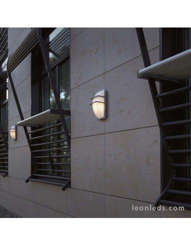 Aplique de pared gris para exterior serie Mito de dopo IP65 de acero inoxidable rectangular | LeonLeds Iluminación
