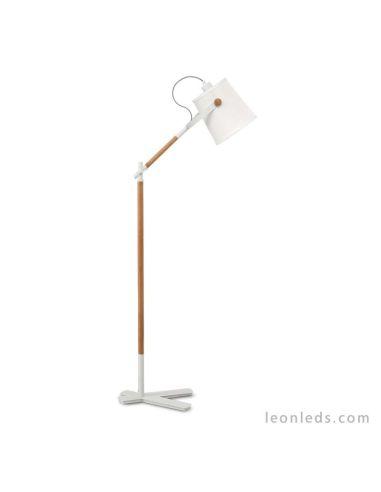 Lámpara de Pie para el salón de estilo nordico de mantra 4920 Blanco y madera barata   LeonLeds Iluminación