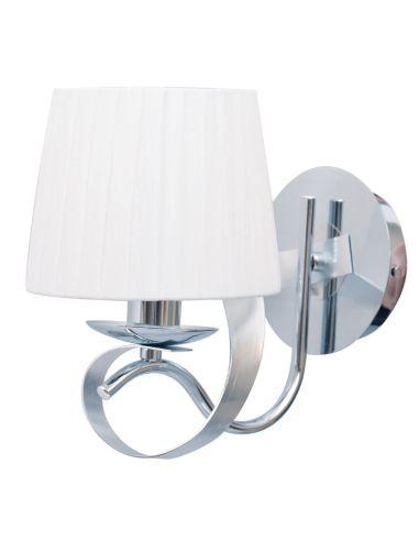 Lámpara Aplique Pared Blanco Cromo Serie Cleveland 1XE14 de una pantalla textil | LeonLeds