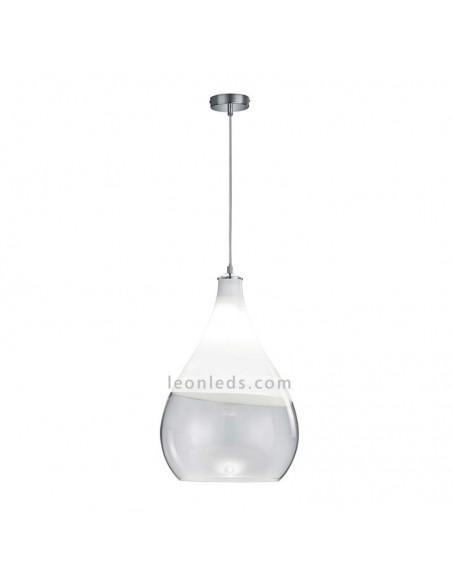 Lámpara Colgante moderna de Techo Kingston Cromo y Blanco Ø35CM - para zonas de diseño | LeonLeds Iluminación