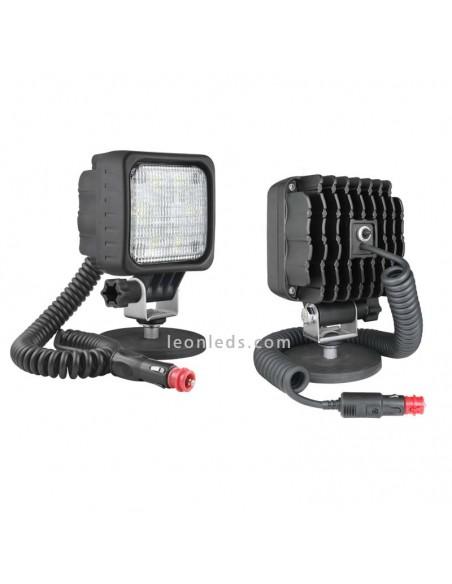 Faro Cuadrado LED de 800Lm con base magnética, interruptor y conector de mechero  de Wesem | LeonLeds Iluminación