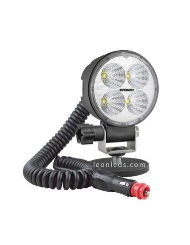 Foco Redondo LED magnético conexión de mechero, interruptor y base imantada | LeonLeds Iluminación