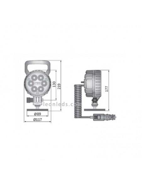 Faro Redondo Led con iman, interruptor y conector de mecheto totalmente homologado de Wesem | LeonLeds Iluminación