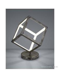 Lámpara para Sobremesa LED cuadrada 3D metalica de color gris antiguo con base redonda | LeonLeds Iluminación