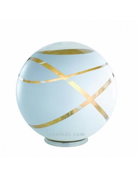 Lámpara para sobremesa Serie Faro de Trio Lighting de color Blanca Oro y Cromo con base redonda | LeonLeds Iluminación
