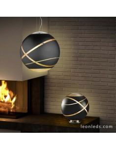 Lámpara para sobremesa Serie Faro de Trio Lighting de color Negra Oro y Cromo con base redonda | LeonLeds Iluminación
