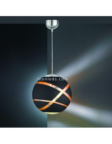 Lámpara de techo colgante serie Faro de color negro oro, cromo con un diámetro de 30Cm de diseño moderno | LeonLeds Iluminació