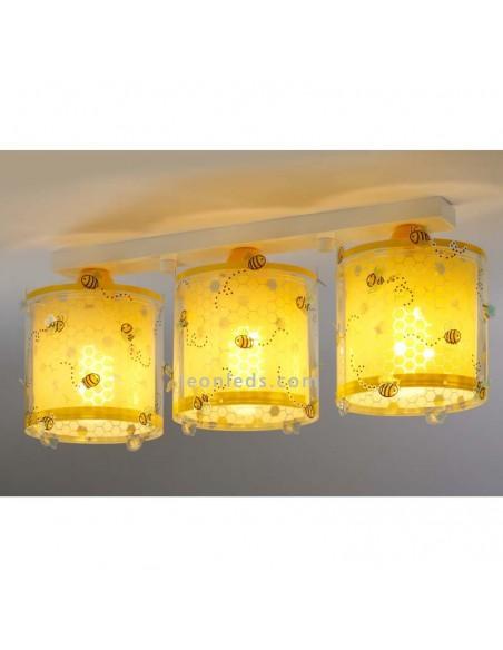 Lámpara infantil de Techo 3 pantallas imitando a colmenas de abeja en amarillo de Dalber | LeonLeds Iluminación