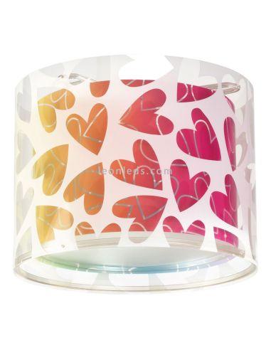 Plafón colgante redondo serie Cuero de Dalber con corazones de colores - Plafón original | LeonLeds Iluminación