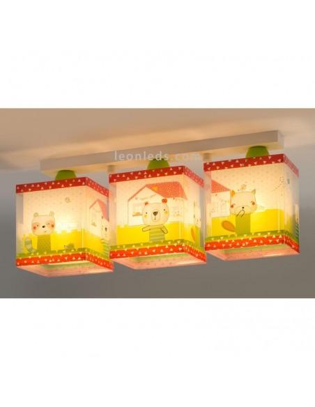 Lámpara de Techo infantil de ositos con su casa de color verde blanca y rojo My Sweet Home | LeonLeds Iluminación
