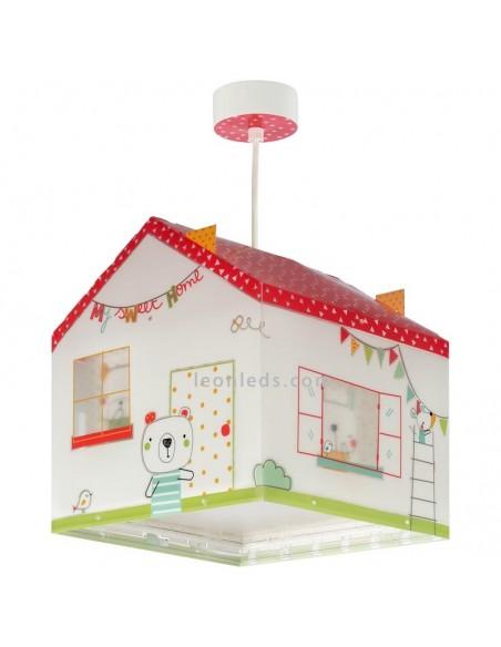 Lámpara de Techo Infantil con forma de Casa Serie My Sweet Home Blanca roja y verde | LeonLeds Iluminación