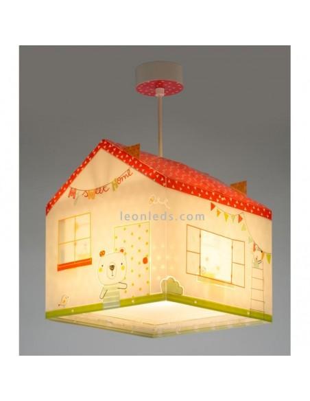 Lámpara de Techo Infantil Original con forma de Casa Serie My Sweet Home Blanca roja y verde | LeonLeds Iluminación