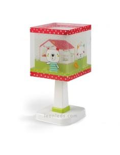 Lámpara de Sobremesa Blanca Verde y Roja con ositos en el jardín de su casa serie My Sweet Home Baratas | LeonLeds