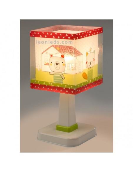 Lámpara de Sobremesa Blanca Verde y Roja con ositos en el jardín de su casa serie My Sweet Home Baratas   LeonLeds