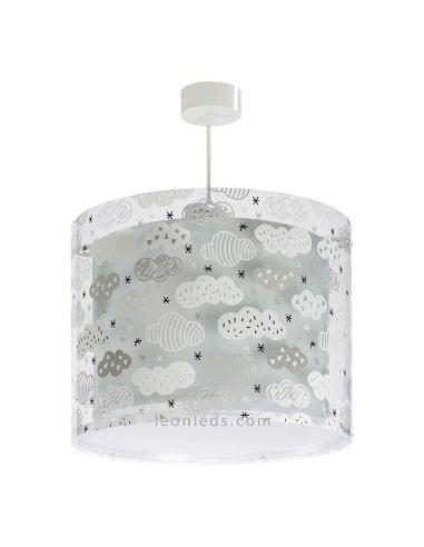 Lámpara de Techo gris con nubes con una pantalla redonda serie Clouds de Dalber 41412E | LeonLeds Iluminación