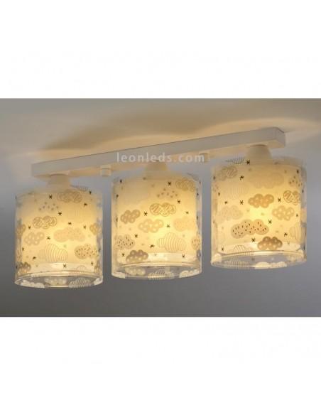 Lámpara Gris 3 Luces de techo infantil Original serie Clouds con 3 pantallas redondas de la marca Dalber 41413E | LeonLeds