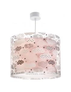 Lámpara de Techo Rosa Redonda serie Clouds de color rosa con un diseño muy original de nubes de la marca Dalber | LeonLeds