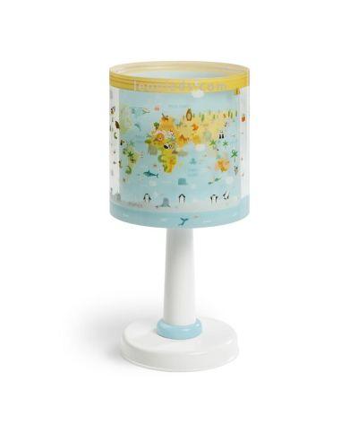 Lámpara de sobremesa infantil Baby World de diseño original con el mapa del mundo y animales   LeonLeds Iluminación