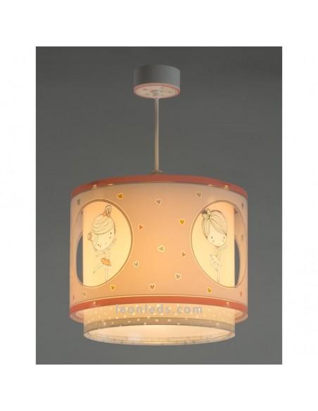 Lámpara de Techo Original de diseño infantil rosa y blanca con corazones Serie Sweet Dance | LeonLeds Iluminación