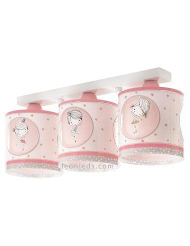 Lámpara infantil de Techo rosa y blanca con 3 pantallas con Bailarinas de Dalber de la serie Sweet Dance 70913   Leonleds Ilumin