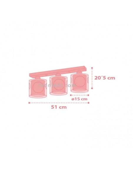 Lámpara infantil de Techo rosa y blanca con 3 pantallas con Bailarinas de Dalber de la serie Sweet Dance 70913 | Leonleds Ilumin