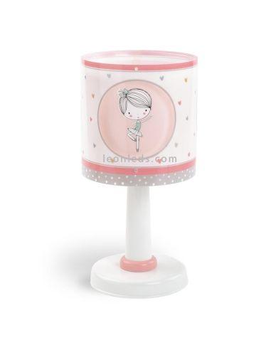 Lámpara de Sobremesa muy original de color rosa, blanca y gris con 4 bailarinas serie Sweet Dance   LeonLeds Iluminación