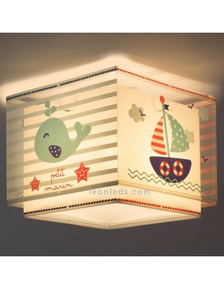 Plafón de Techo Cuadrado para un marinero Nautica | Lámpara Colgante Infantil Petit Marin | LeonLeds Iluminación