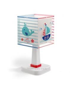 Lámpra de Sobremesa Infantil Serie Petit Marin mar peces y barcos con rayas azules y rojas 43421 Cuadrada Dalber Bebe | LeonLeds